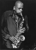 Julius Hemphill playing saxophone, 1977 [descriptive]