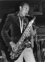 Harold Land playing saxophone, 1977 [descriptive]
