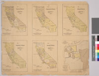 California political subdivisions maps showing senatorial, congressional, railroad, equalization, and assembly districts plus a map of San Francisco political subdivisions
