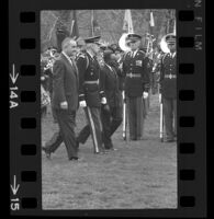 President Lyndon B. Johnson, a General and Upper Voltian President Maurice Yaméogo, 1965 [14A]