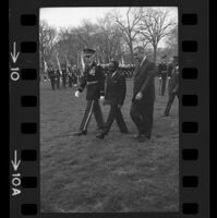 President Lyndon B. Johnson and Upper Voltian President Maurice Yaméogo walking with General, 1965 [1]