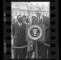 President Lyndon B. Johnson at podium with Upper Voltian President Maurice Yaméogo, 1965 [10_1]