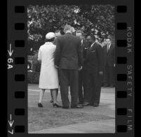 President Lyndon B. Johnson & Lady Bird [backs to camera] greeting and Upper Voltian President Maurice Yaméogo, 1965 [6A]