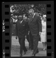 President Lyndon B. Johnson and Upper Voltian President Maurice Yaméogo, 1965 [10A]