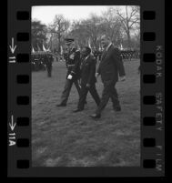 President Lyndon B. Johnson and Upper Voltian President Maurice Yaméogo walking with General, 1965 [2]