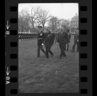 President Lyndon B. Johnson, Upper Voltian President Maurice Yaméogo and General walking, 1965 [8_2]