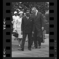 President Lyndon B. Johnson, Upper Voltian President Maurice Yaméogo, and Laby Bird, 1965 [8A]