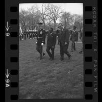 President Lyndon B. Johnson, Upper Voltian President Maurice Yaméogo and General walking, 1965 [9_2]