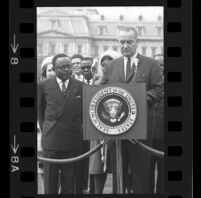President Lyndon B. Johnson at podium with Upper Voltian President Maurice Yaméogo, 1965 [8_1]