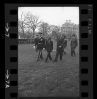 President Lyndon B. Johnson, Upper Voltian President Maurice Yaméogo and General walking, 1965 [7_2]