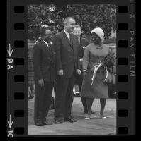 President Lyndon B. Johnson, Upper Voltian President Maurice Yaméogo and Yaméogo's wife, 1965 [9A]