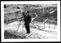 Bay Theatre, Pacific Palisades, S. Charles Lee on the construction site