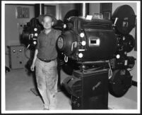 Chino Theatre, projectionist in the projection booth