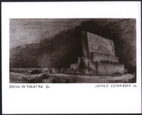 Drive-in theatre, Arcadia, photograph of perspective sketch