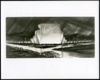 Drive-in theatre, Ventura, photograph of rendering