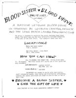 "Flyer Advertising ""A Massive Lesbian Blood Drive"""