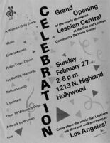 Flyer Advertising the Grand Opening of Lesbian Center at the Gay and Lesbian Community Services Center