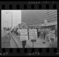 Protesters at Century Plaza Hotel during President Johnson's visit