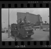 Naval Truck outside of Century Plaza awaiting President Johnson