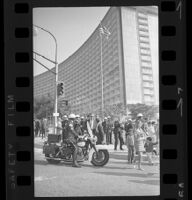 Motorcycle Police blocking pedestrian traffic at Century Plaza during Pres. Johnson's visit