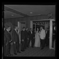 President Johnson greeted by Edmund Brown at Century Plaza with Lynda Bird as his guest. A. 1967.