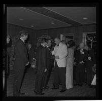 President Johnson greeted by Edmund Brown at Century Plaza with Lynda Bird as his guest. B. 1967.