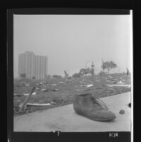 Shoe abandoned at site of Century Plaza demonstration during President Johnson's visit. 1967.