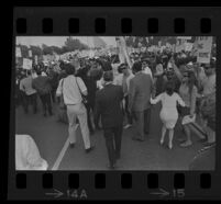 Demonstrators on Avenue of the Stars during President Johnson's visit. 1967.