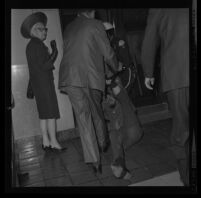 Protester Josh Gould removed forcibly from City Council chambers after being denied a hearing regarding police actions at a demonstration during President Johnson's visit to Century Plaza Hotel. 1967.