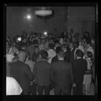 Crowd at hectic City Council meeting, 1967.