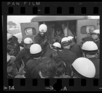 Police putting protesters into a patrol wagon at Century Plaza during a demonstration, 1967.