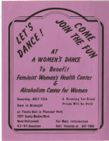 A Women's Dance to Benefit Feminist Women's Health Center and Alcoholism Center for Women