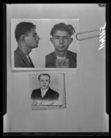 Mugshot of Ralph Muller and portrait of Peter Kamenoff, the two men suspected of bombing the Fountain of the World headquarters. A. 1958.