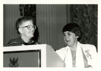 Founding Celebration II: Bunny MacCulloch and Del Martinez at podium