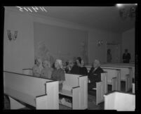 Funeral at Utter-McKinley's North Hollywood Chapel for Krishna Venta and two others, 1958.