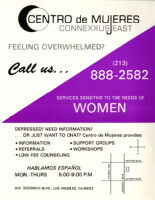 Flyer Announcing the Services of Centro de Mujeres/Connexxus East