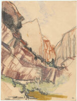 Zion [View of rock structures and vegetation in Zion National Park.]
