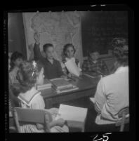 Students at University Elementary School discuss Ghana in classroom, 1958