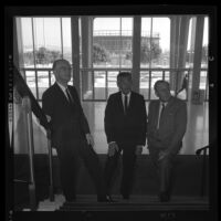 Henry Dreyfuss, left, Lew Wasserman and Walt Disney on grand staircase of Music Center Pavillion. Los Angeles, 1965