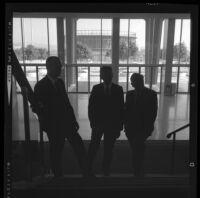 Henry Dreyfuss, left, Lew Wasserman and Walt Disney on grand staircase of Music Center Pavillion, Los Angeles, 1965