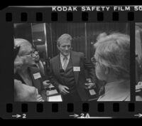 Otis Chandler, Los Angeles Times Publisher, at Freedom of Press exhibit reception, Los Angeles, 1980
