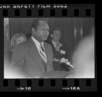 Tom Bradley speaks at reception for Freedom of Press exhibit, 1980.