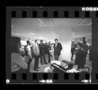 Tom Johnson, publisher of the Los Angeles Times, speaks at the Washington Journalism Center. C. 1981.