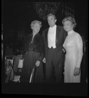 Otis Chandler (center) with wife Marilyn Brant (right) and mother Dorothy Buffum Chandler at the Las Madrinas Ball, 1973