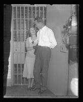 David Clark with wife outside of his cell during his murder triel, Los Angeles, 1931