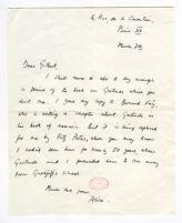 """Alice B. Toklas to """"Dear Gilbert,"""" ALS"""