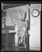 Barbara Payton in court to file for divorce from fourth husband, George Provas, 1958.