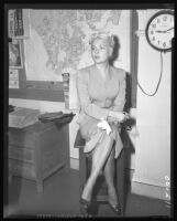 Barbara Payton in court to file for divorce from fourth husband, George Provas, Los Angeles, 1958