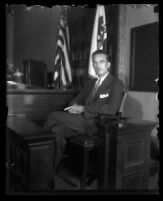 David Clark on the stand during murder trial, Los Angeles, 1931
