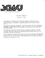 Executive Committee Meeting Minutes - August 15, 1984